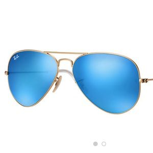 Ray an Aviator Blue Lenses